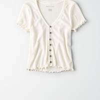 AE Fitted Button Up T-Shirt, Cream