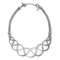 John Hardy Classic Chain Diamond Pave Woven Braided Necklace