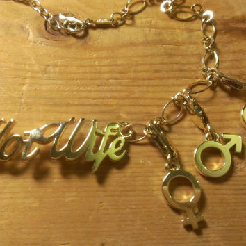 HotWife Anklet with Three Gender Charms by Carolyn Nicole Designs