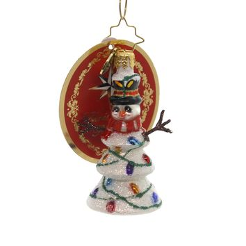 Christopher Radko NORTHERN LIGHTS LITTLE GEM Glass Snowman 1019190