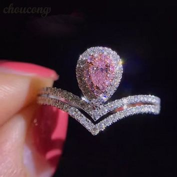 The Monté- Sona Diamonds Sterling Silver Wedding Ring White & Pink Engagement Ring Bridal