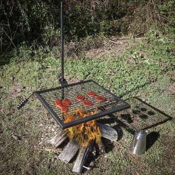 Titan Outdoors Adjustable Campfire Swivel Grill HD Wire Cooking Grate Spike P...