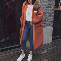 """Adidas"" Women Loose Fashion Multicolor Cardigan Long Sleeve Long Section Fur Collar Hooded Cotton-padded Clothes Thickened Coat"