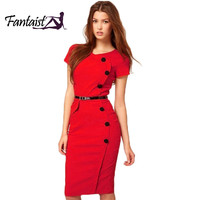 2014 Summer Women Colorful V-Neck Knee Length Button Vintage Bandage Business Party Career Work Wear Bodycon Casual Pencil Dress