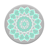 Popsocket Phone Grip & Stand-Floral Abstract, White-Mint