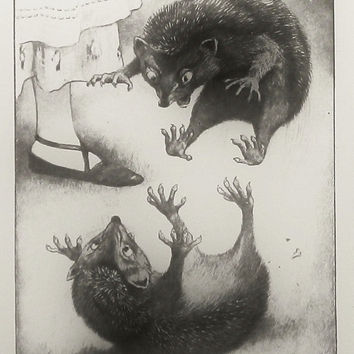 Vintage Alice in Wonderland Print: Hedgehog Fight (Wall Hanging Art Decor to Frame) Brother Sister Black White Nursery, Peter Newell No. 145