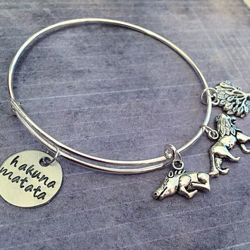 Hakuna Matata Expandable Bracelet FITS WRIST SIZE 7.0 to 8.5 inches - Fairytale Jewelry-Once Upon A Time Jewelry - Circle Of Life