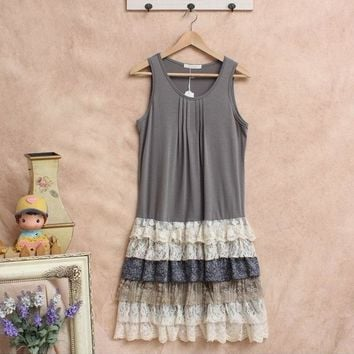 Japanese Mori Girl Style Multi-Layer Ruffles Lolita Tank Dress Loose Casual Sleeveless Knee Length Dresses