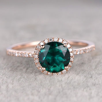 7mm Treated Emerald Engagement ring Rose gold,Diamond wedding band,14k,Round Cut,Gemstone Promise Bridal Ring,Halo,Anniversary