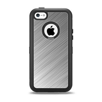 The Silver Brushed Aluminum Surface Apple iPhone 5c Otterbox Defender Case Skin Set