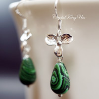 Malachite Earrings - Orchid Earrings - Handmade Sterling Silver Green Stone  Flower Earrings -   Malachite Jewelry