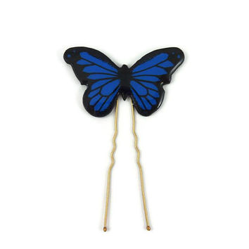Royal blue and black Morpho butterfly bun pin, eco-friendly butterfly hair pin, eco-responsible painted plastic hair accessory (recycled CD)