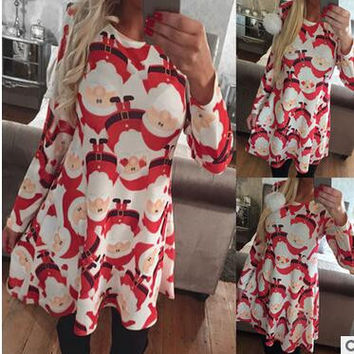 christmas dress women 2016 Winter Dress O-neck A-line Snow Printed women dress Plus Size XL Black Red christmas Dress WR10