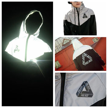 Palace Skateboard 3M Reflective Mens Palace Jacket Street Male Reflective Windbreaker Trend Brand Clothing 715