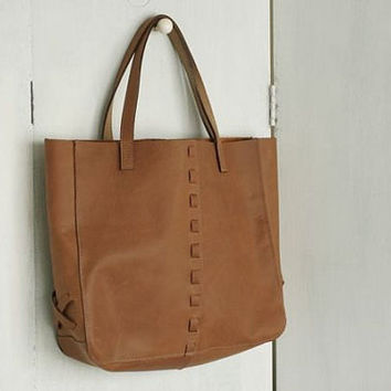 Boho chic brown artisan Leather tote by headinghome on Etsy