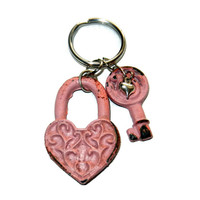 Metal Pink Key and Locket Keychain