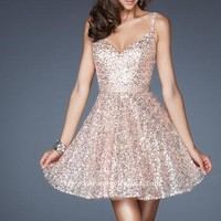 2014 Sequin Strap La Femme Homecoming Dress 18941