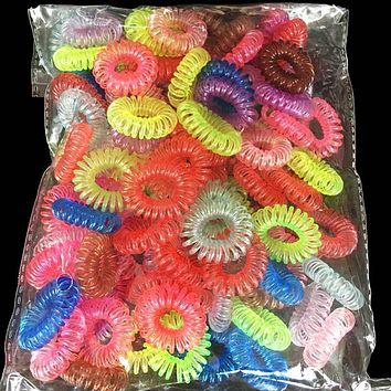 30Pcs Colorful Telephone Wire Gum Rubber Ponytail Holders Traceless Hair Rings Elastics Hair Bands/Ties Headband Hair Ornaments