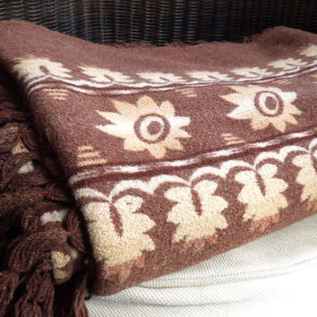 Rustic brown beige afghan throw blanket - Mothers Day gift or Fathers Day gift (Ready to ship)