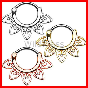 Rose Gold Tribal Fan with Clear Gems 316L Surgical Steel Septum Clickerv 16g Earring 14g Cartilage Piercing Tragus Conch Nose Septum Ring