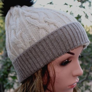 100% Alpaca Pom-Pom Hat - Cream and Light Brown