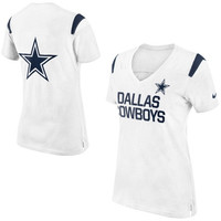 Dallas Cowboys Nike Women's Fan Top V-Neck T-Shirt – White