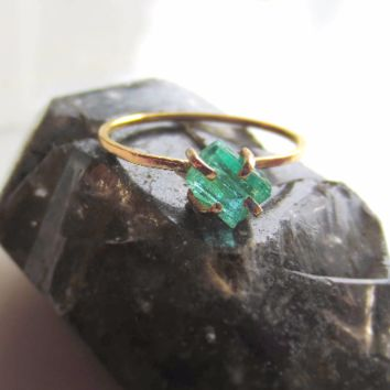 Raw Emerald Engagement Ring | Alternative Emerald Engagement Ring
