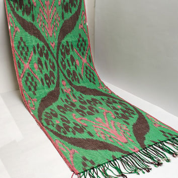 ikat women scarf, table runner, handmade scarf, hand dyed, pink green ikat scarf, shawl, écharpe, Schal, bufanda, accessories