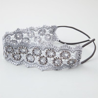 Full Tilt Crochet Headband Grey One Size For Women 24810611501