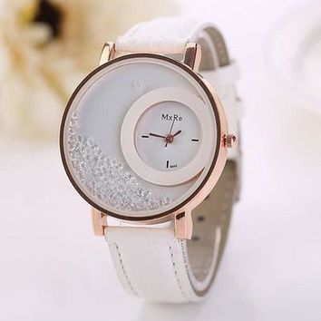 relojes mujer Hot PU Leather Quicksand Rhinestone clock women Quartz Watch womens watches top brand luxury