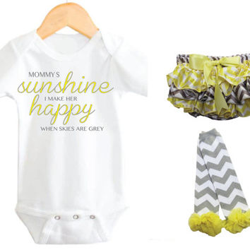 Mommy's Little Sunshine, Baby Clothing set, My little sunshine, Baby Girl Onesuit, Baby Girl Mommy Onesuit, My little sunshine