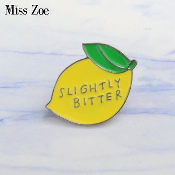 Lemon enamel pin SLIGHTLY BITTER Brooches Gift for Kids friends Fruit icons Pin Badge Button Lapel pin for Clothes cap bag