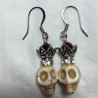 Sugar skull earrings, halloween earrings, crystal earrings, stainless earrings, silverbymaggie, skull earrings, dangle earrings,