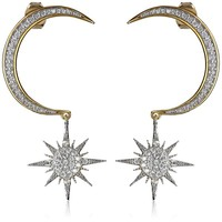 nOir Jewelry Crescent Moon and Starburst Drop Earrings
