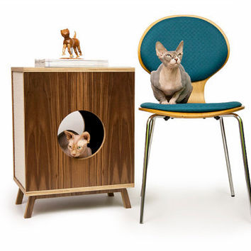 Mid Century Modern Cat House Side Table & Litter Box Cover
