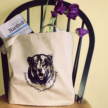 Screen Printed Organic Cotton Bear Tote Bag in Smaller Size