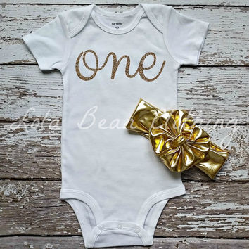 Baby Girl 1st Birthday Outfit Cake Smash Outfit One Onesuit Gold Glitter Big Bow Headband 12 months