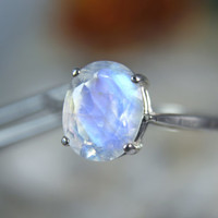 MOONSTONE - Faceted Rainbow Moonstone Sterling Silver Ring 2.35 carats! Free Re-size! Free Shipping!
