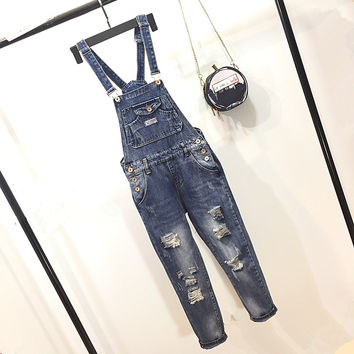 All-match Fashion Irregular Worn Ripped Jeans Back Strap Denim Pants Jumpsuit