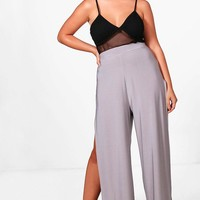 Plus Beth Slinky Split Wide Leg Trouser | Boohoo