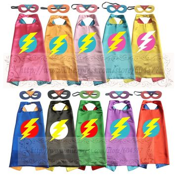 Lightening Bolt  Costumes Flash Cape with mask Cosplay Clothing for Kids