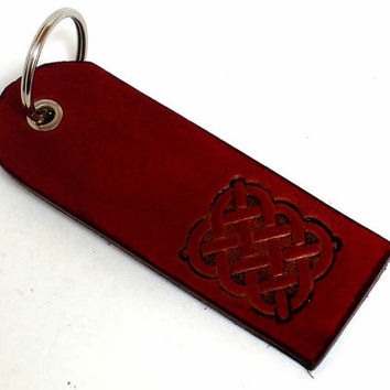 leather keyring, Celtic design, square panel with Celtic knot, antiqued red, leather key fob