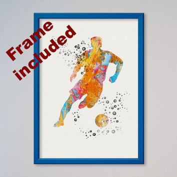 Soccer Player Poster Watercolor Print Sport Soccer illustration Art Poster Kid's Room FRAMED decor Giclee Wall Decor Wall Hanging