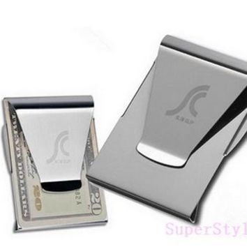 Stainless Steel Card Folder Double Sided Wallet Card Holder Slim Clip Money Clips