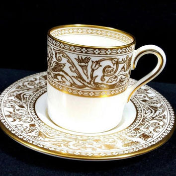 Wedgwood Florentine Gold Demitasse Cup And Saucer 4219