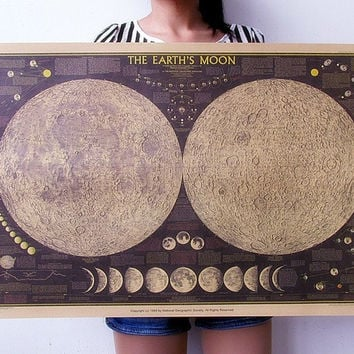 Retro Vintage Moon Map poster Home art posters Living Room decoration Picture Wall Sticker