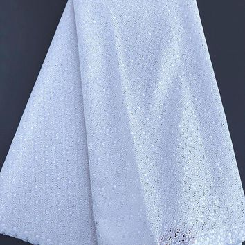 plain white Small floral embroidery African Swiss voile lace cotton fabric excellent high quality 5 yards per piece