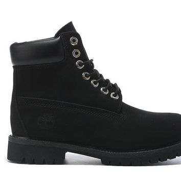 Timberland Rhubarb Boots All Black For Women Men Shoes Waterproof Martin Boots