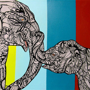 Elephant Zentangle Art Print , Mommy and Baby 8.5x 11in
