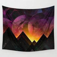 Whimsical mountain nights Wall Tapestry by HappyMelvin